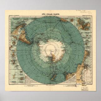Mapa antiguo del atlas de la Antártida de 1912 Póster
