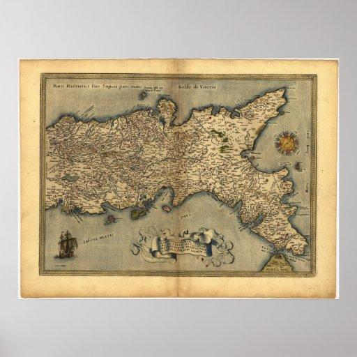 Mapa antiguo del ATLAS meridional 1570 de Italia O Poster
