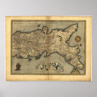 Mapa antiguo del ATLAS meridional 1570 de Italia Póster