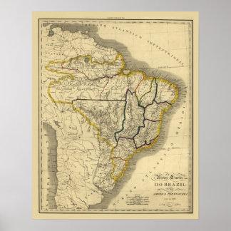 Mapa antiguo del Brasil en 1821 Póster