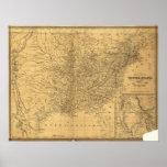 Mapa antiguo del carril 1847 de los Estados Unidos Posters
