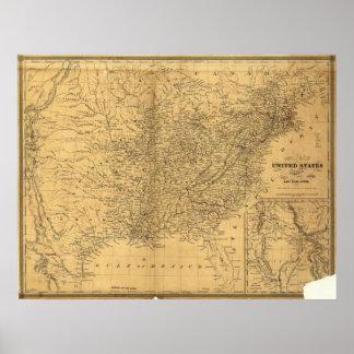 Mapa antiguo del carril 1847 de los Estados Unidos Póster