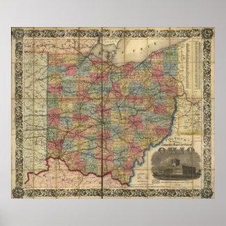 Mapa antiguo del carril 1854 de Ohio Póster