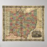 Mapa antiguo del carril 1854 de Ohio Posters