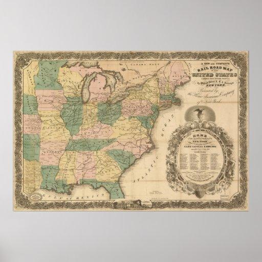 Mapa antiguo del carril 1858 de los Estados Unidos Posters