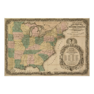 Mapa antiguo del carril 1858 de los Estados Unidos Póster