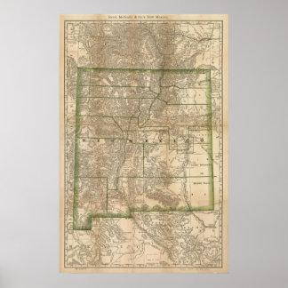 Mapa antiguo del carril 1879 de New México Poster