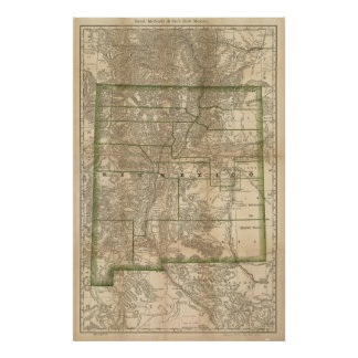 Mapa antiguo del carril 1879 de New México Póster