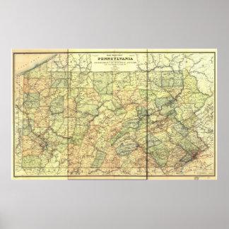 Mapa antiguo del carril 1895 de Pennsylvania Póster