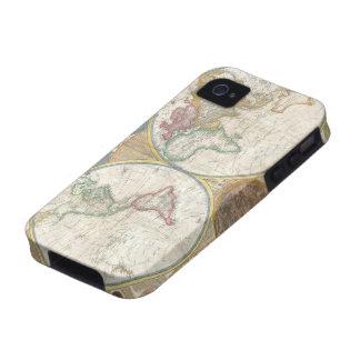 Mapa antiguo del detallado hermoso del mundo, rega iPhone 4 funda