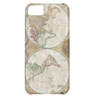 Mapa antiguo del detallado hermoso del mundo, rega funda para iPhone 5C