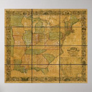 Mapa antiguo del ferrocarril 1856 de los Estados U Poster