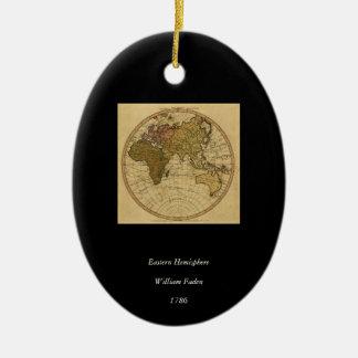 Mapa antiguo del hemisferio del este de Guillermo Ornamento Para Arbol De Navidad