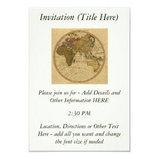 """Mapa antiguo del hemisferio del este de Guillermo Invitación 3.5"""" X 5"""""""