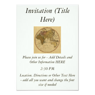 """Mapa antiguo del hemisferio del este de Guillermo Invitación 4.5"""" X 6.25"""""""