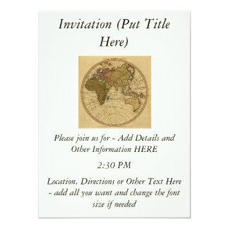 """Mapa antiguo del hemisferio del este de Guillermo Invitación 5.5"""" X 7.5"""""""
