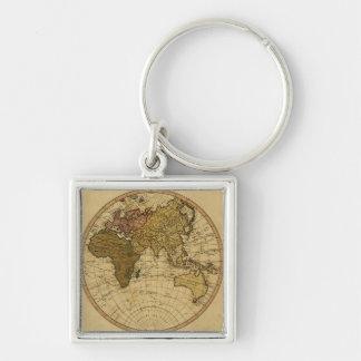 Mapa antiguo del hemisferio del este de Guillermo  Llavero Cuadrado Plateado