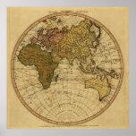 Mapa antiguo del hemisferio del este de Guillermo  Posters