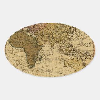 Mapa antiguo del hemisferio del este de Guillermo Pegatina Ovalada