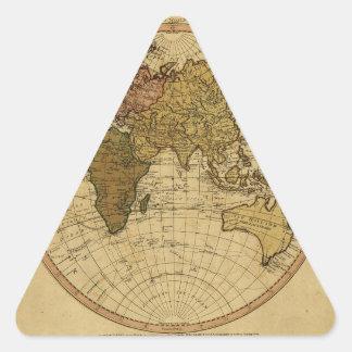 Mapa antiguo del hemisferio del este de Guillermo Pegatina Triangular