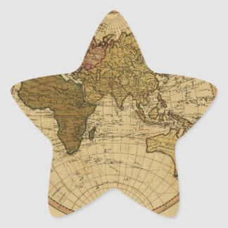 Mapa antiguo del hemisferio del este de Guillermo Pegatina En Forma De Estrella
