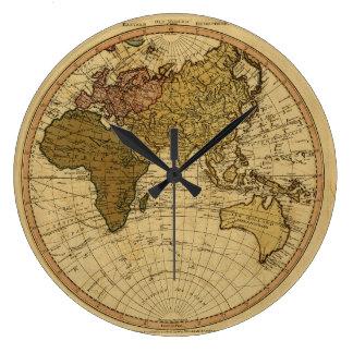 Mapa antiguo del hemisferio del este de Guillermo  Reloj Redondo Grande