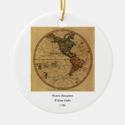 Mapa antiguo del hemisferio occidental de adorno redondo de cerámica