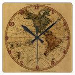Mapa antiguo del hemisferio occidental de Guillerm Reloj De Pared