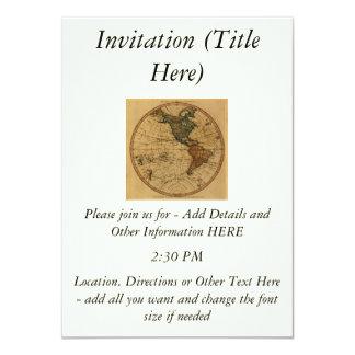 """Mapa antiguo del hemisferio occidental de invitación 4.5"""" x 6.25"""""""