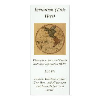"""Mapa antiguo del hemisferio occidental de invitación 4"""" x 9.25"""""""