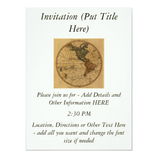"""Mapa antiguo del hemisferio occidental de invitación 6.5"""" x 8.75"""""""