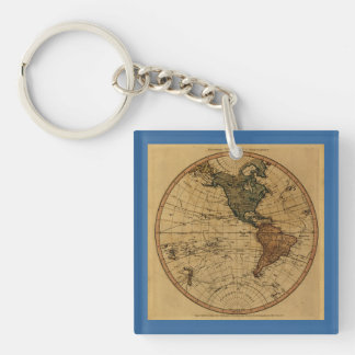 Mapa antiguo del hemisferio occidental de llavero cuadrado acrílico a doble cara