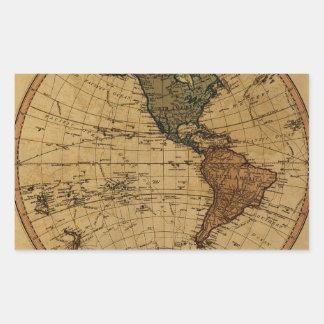 Mapa antiguo del hemisferio occidental de pegatina rectangular