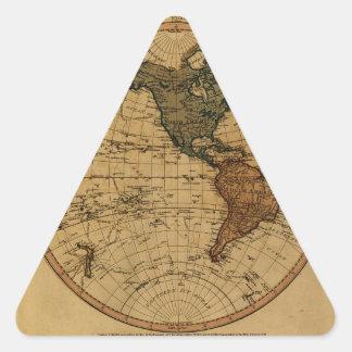Mapa antiguo del hemisferio occidental de pegatina triangular