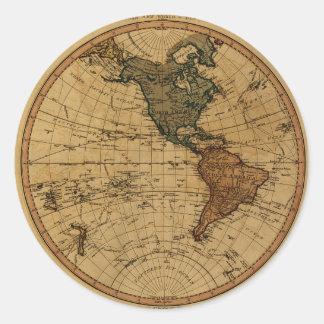 Mapa antiguo del hemisferio occidental de pegatina redonda