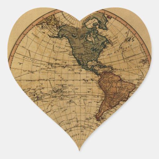 Mapa antiguo del hemisferio occidental de pegatina en forma de corazón