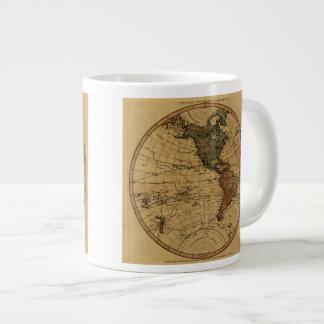 Mapa antiguo del hemisferio occidental de taza de café gigante