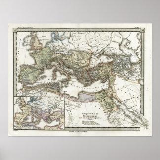 Mapa antiguo del imperio romano póster