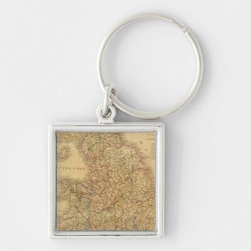 Mapa antiguo del inglés llavero personalizado