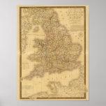 Mapa antiguo del inglés posters