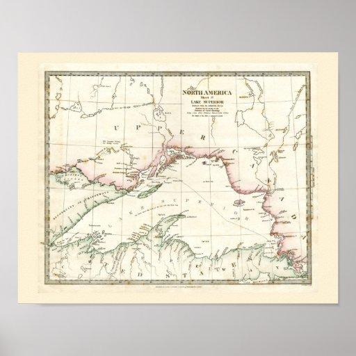Mapa antiguo del lago Superior Póster
