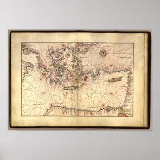 Mapa antiguo del mar Mediterráneo del este Póster