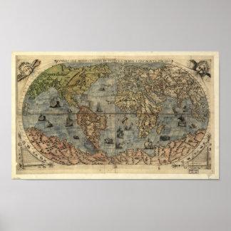 Mapa antiguo del mundo 1565 póster