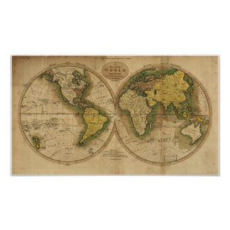 Mapa antiguo del mundo - 1795 poster