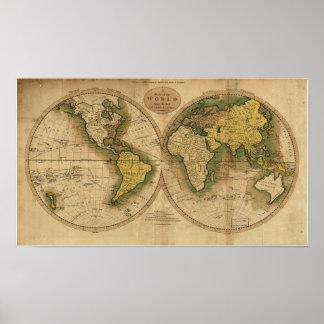 Mapa antiguo del mundo - 1795 póster