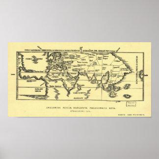 Mapa antiguo del mundo 1889 impresiones