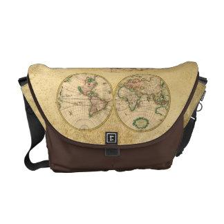 Mapa antiguo del mundo bolsa de mensajeria