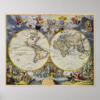 Mapa antiguo del mundo en dos hemisferios 1683 póster