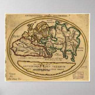Mapa antiguo del mundo - fecha desconocida póster