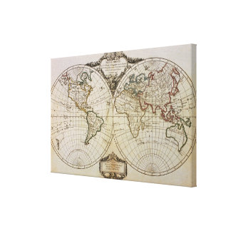 Mapa antiguo del mundo impresion de lienzo